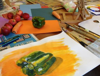 Still life studies are included in our beginners painting and drawing courses with Clare Tebboth