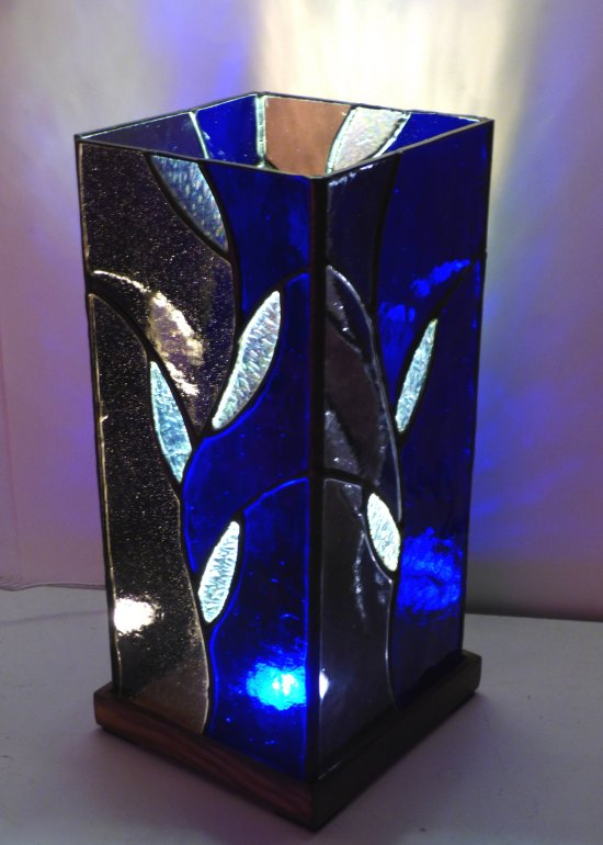 Blue stained glass mood lamp by Vitreus Art