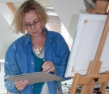 Mixed media artist Clare Tebboth in her studio