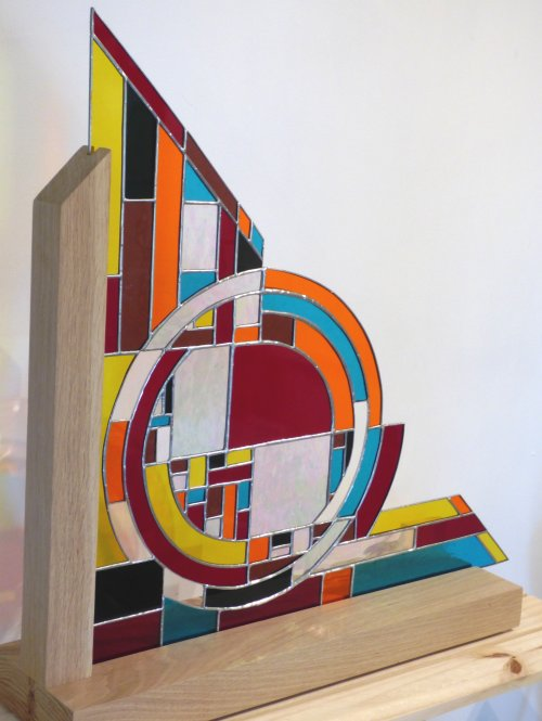 Geometric - freestanding stained glass art by Vitreus Art