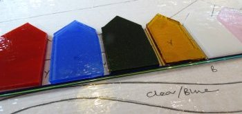 Building up a fused glass piece of art