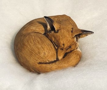 Hilary Audus - Sleeping Fox - ceramic sculpture available to buy at Vitreus Art