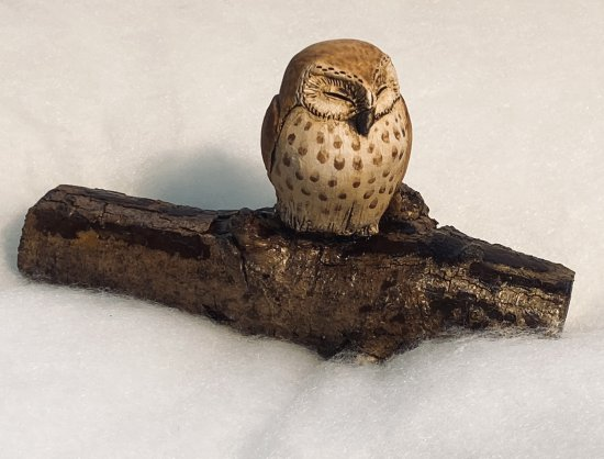Hilary Audus - Owl on Branch ceramic sculpture available to buy at Vitreus Art Gallery