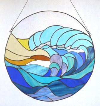 Breaking Wave, stained glass art by Vitreus art