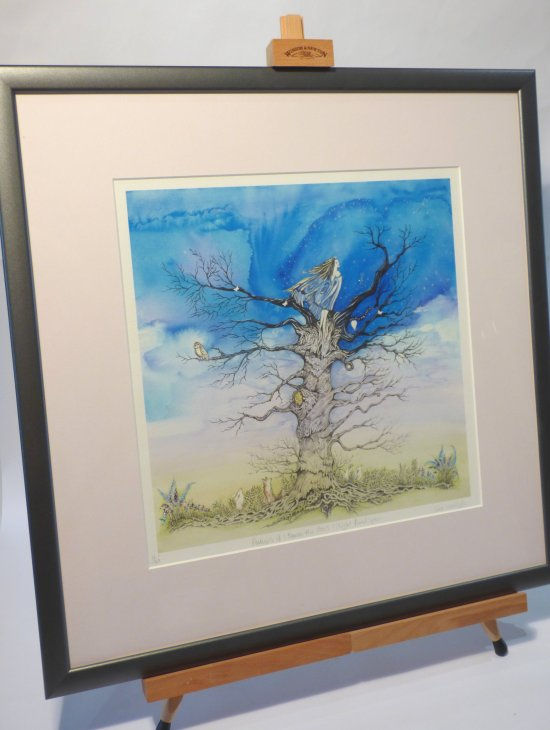 Framed art hand embellished watercolours by Jane Warwick on exhibition at Vitreus Art, Northamptonshire