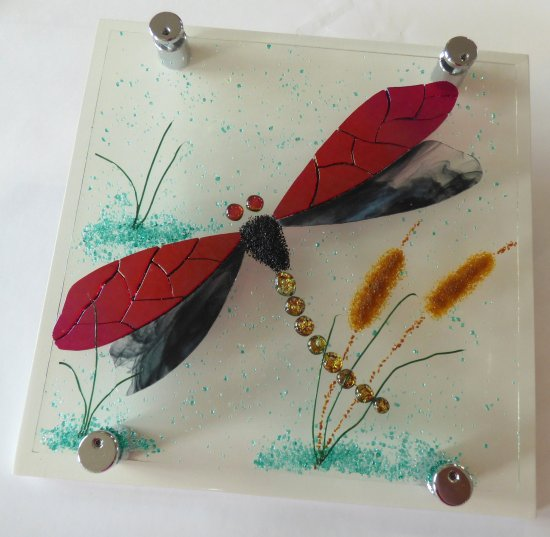 Millpond - fused glass wall art by Jenny Timms of Vitreus Art