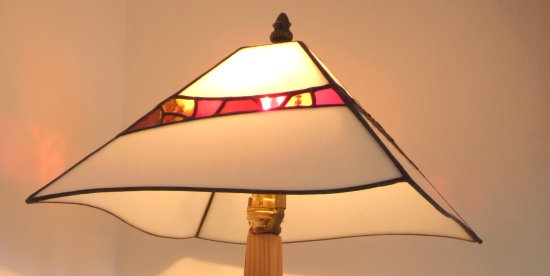 Mikes mosaic lamp and wooden base on sale at Vitreus Art