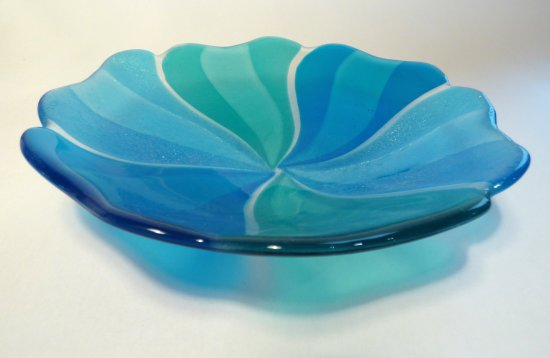 Roger Loxton fused glass blue flower dish for sale at Vitreus Art