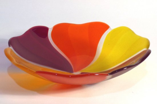 Roger Loxton fused glass red and orange rainbow dish for sale at Vitreus Art