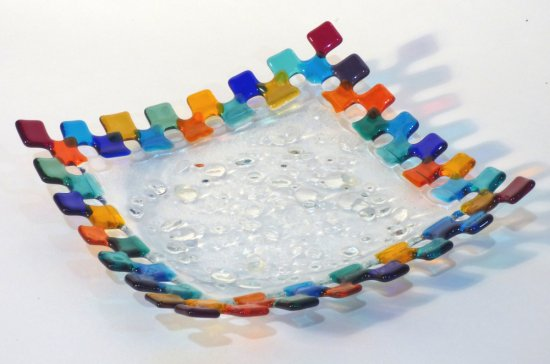 Roger Loxton fused glass multicolour squares rainbow dish for sale at Vitreus Art