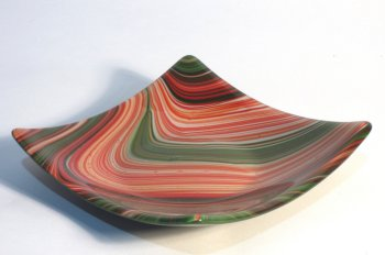 Roger Loxton fused glass red and green swirls dish for sale at Vitreus Art