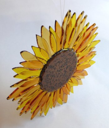 Fused glass hanging sunflower by artist Roger Loxton, new at Vitreus Art