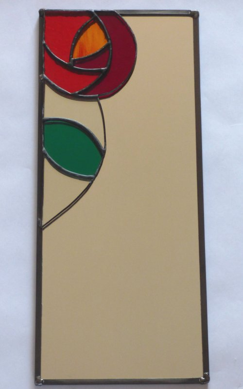 Rose mirror in red and orange glass