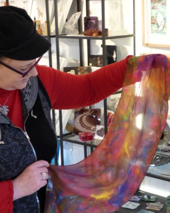 Jenny Timms and her silk scarf made using Shibori