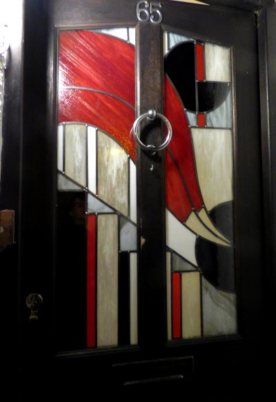 stained glass commission - two conremporary door panels