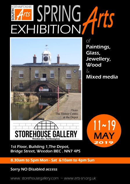 Storehouse Gallery South Northants Arts exhibition poster - exhibition in May 2019 Weedon Bec