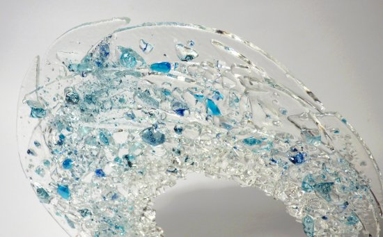 Vitreus Art fuised glass called Tempest - close up view