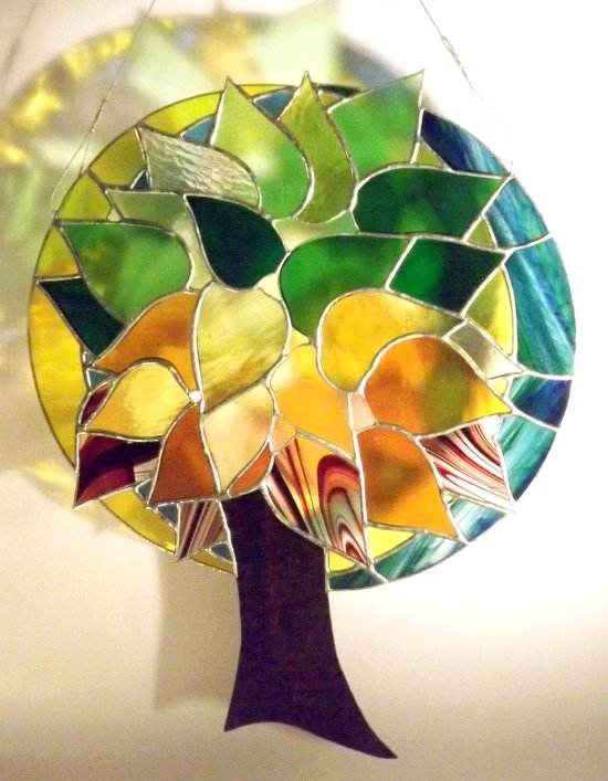 Tree of Life stained glass art to hang in a window